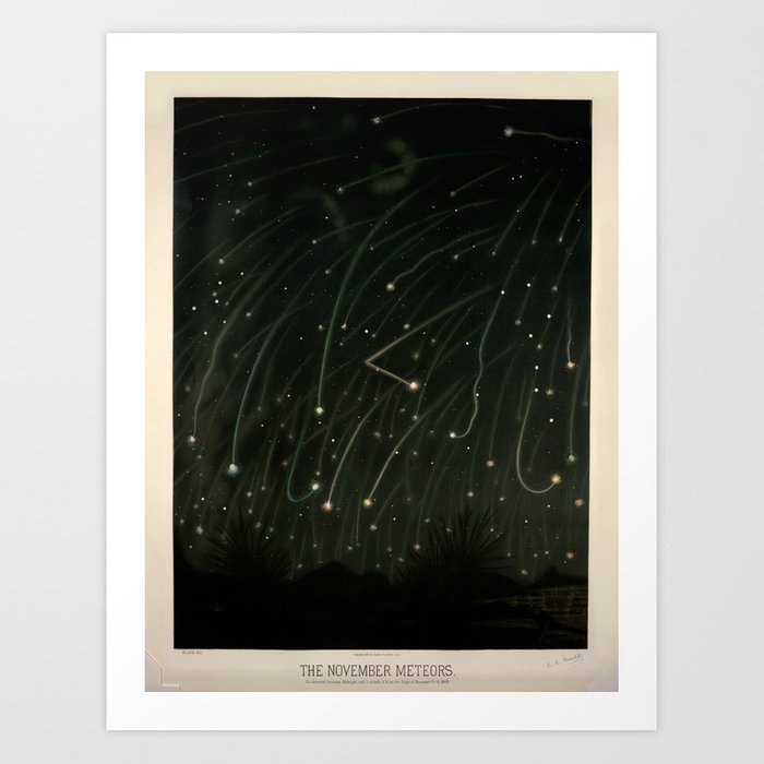 Meteor shower by Étienne Léopold Trouvelot (1868) Kunstdrucke