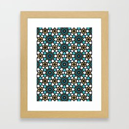 Persian Mosaic – Turquoise & Gold Palette Framed Art Print