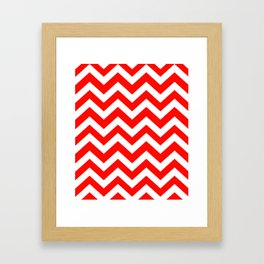 Candy apple red - red color - Zigzag Chevron Pattern Framed Art Print