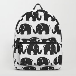 Cute black and white hand drawn watercolor elephant Backpack