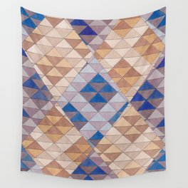 Triangle Pattern No. 13 Shifting Purple and Ochre Wall Tapestry