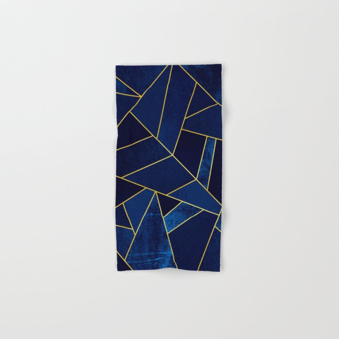 Blue stone with yellow lines Hand & Bath Towel
