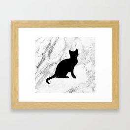 Marble black cat Framed Art Print