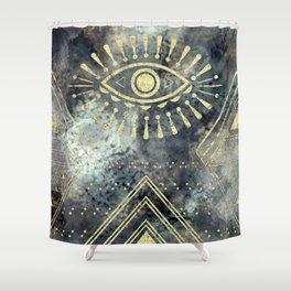 Evil Eye Gold Shower Curtain