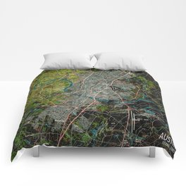 Austin Texas old vintage colorful map, original gift for office decoration Comforters
