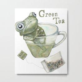 Green Tea Frog Metal Print