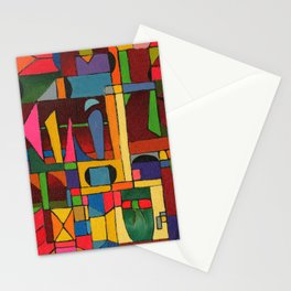 Colors In Collision 1 - Geometric Abstract of Colors that Clash Stationery Cards