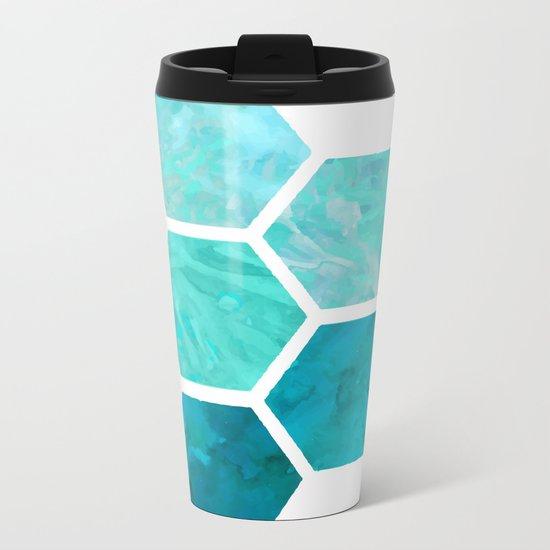 Blue polygon Metal Travel Mug
