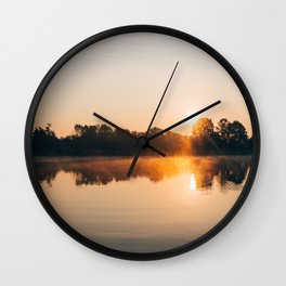 Dawn Mist Over Long Run Lake Wall Clock