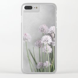 Lavender Flowers on Green Chives Clear iPhone Case