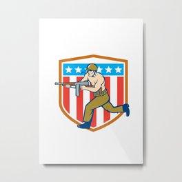 World War Two Soldier American Tommy Gun Shield Metal Print