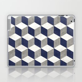 Geometric Cube Pattern - Concrete Gray, White, Blue Laptop & iPad Skin