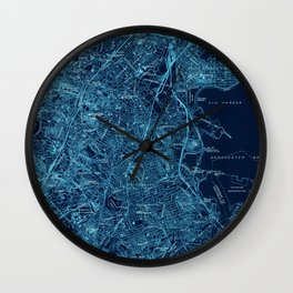 Boston South old map 1944 Wall Clock