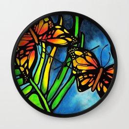 Beautiful Monarch Butterflies Fluttering Over Palm Fronds by annmariescreations Wall Clock
