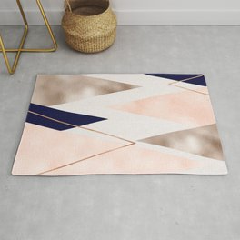 Rose gold french navy geometric Rug