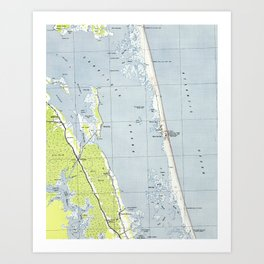 Vintage Northern Outer Banks Map (1940) Art Print