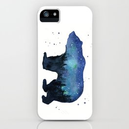 Forest Bear Silhouette Watercolor Galaxy iPhone Case