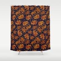 korean Shower Curtains featuring Korean Chrysanthemum - Orange by 1004kim