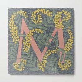 Floral Monogram Letter M Metal Print