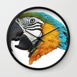 Parrot Face Bird Commemorative Statue Side From Forest Wall Clock