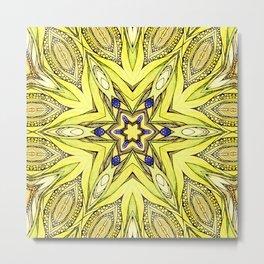 Yellow mandala Metal Print