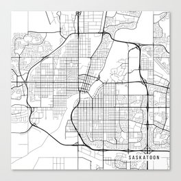 Saskatoon Map, Canada - Black and White Canvas Print
