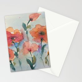 Flowers in watercolor Stationery Cards