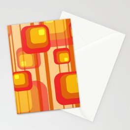 Vintage Design Red orange yellow rectangles Stationery Cards