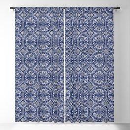 Vintage European blue tiles pattern Blackout Curtain