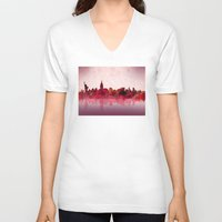 new york V-neck T-shirts featuring new york new york by Bekim ART