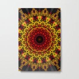 Fiery Fractal Mandala Metal Print