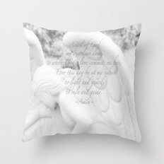 Guardian Angel Prayer | White Angel | Religious Art | Baptism | First Communion Throw Pillow