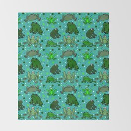 Cartoon Frogs Throw Blanket