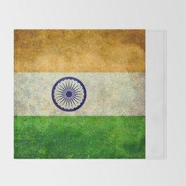 National flag of India - Vintage version Throw Blanket
