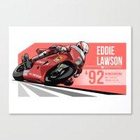 nan lawson Canvas Prints featuring Eddie Lawson 1992 Hungaroring by Evan DeCiren