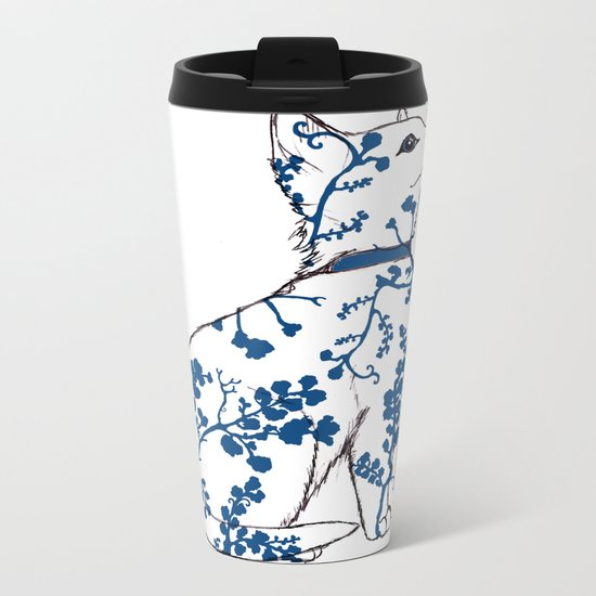 Floral Kitten Metal Travel Mug