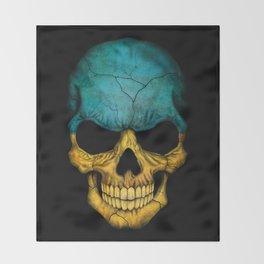 Dark Skull with Flag of Ukraine Throw Blanket