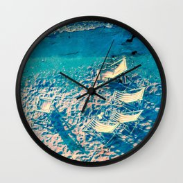 Deck chairs by the sea.. Wall Clock