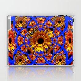 GOLD SUNFLOWERS & ROYAL BLUE PATTERN ART Laptop & iPad Skin