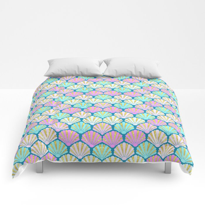 seashells in pink and teal, perfect for a mermaid Comforters