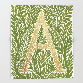 Botanical Metallic Monogram - Letter A Throw Blanket