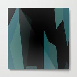 teal and black abstract Metal Print