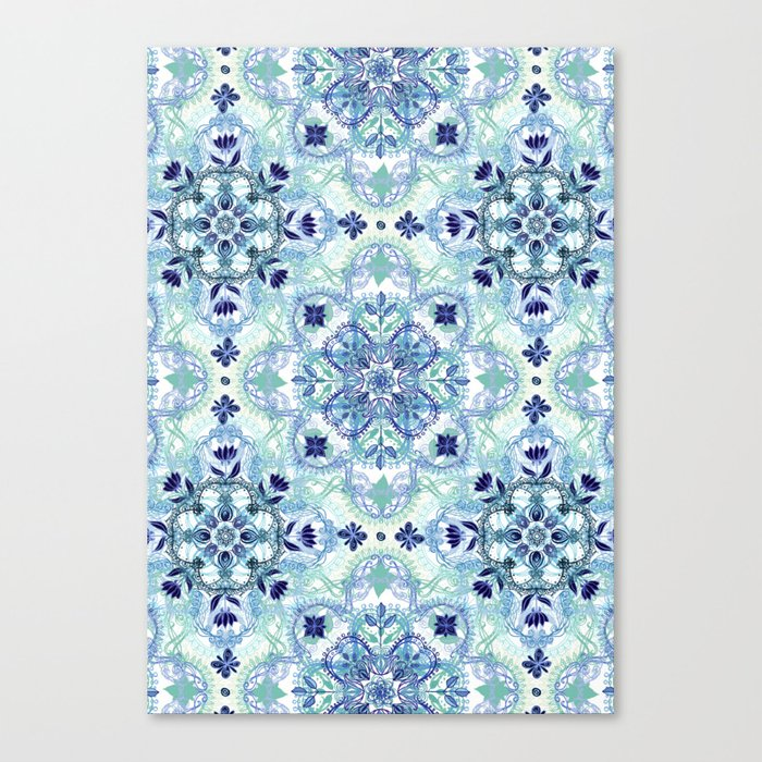 Navy Blue, Green & Cream Detailed Lace Doodle Pattern Canvas Print