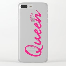 Pink Queen Design Clear iPhone Case