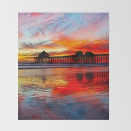 Huntington Beach Sunset    11/8/13 Throw Blanket