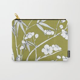 bamboo and plum flower in white on yellow Carry-All Pouch