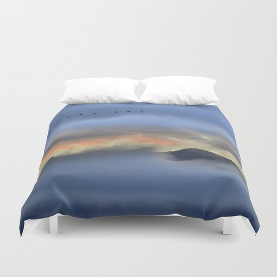 """Sunrise at the mountains"". Birds in the morning. Duvet Cover"