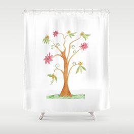 Surrealist tree in bright colors Shower Curtain