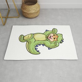 Cat baby in dinosaur costume Rug