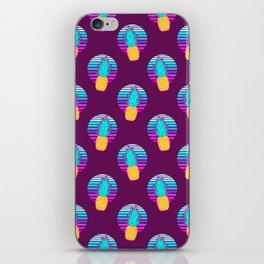 Vaporwave pineapples. Maroon background. iPhone Skin